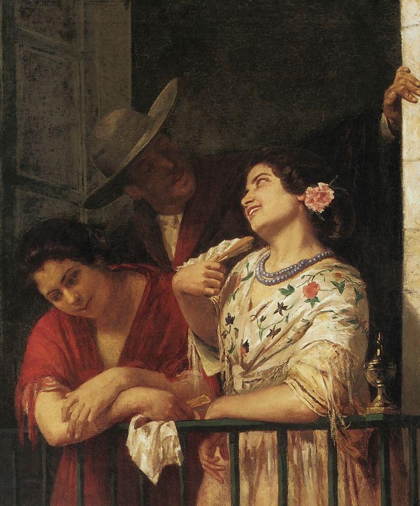 konfigurieren des Kunstdrucks in Wunschgröße The Flirtation A Balcony In Seville 1872 von Cassatt, Mary
