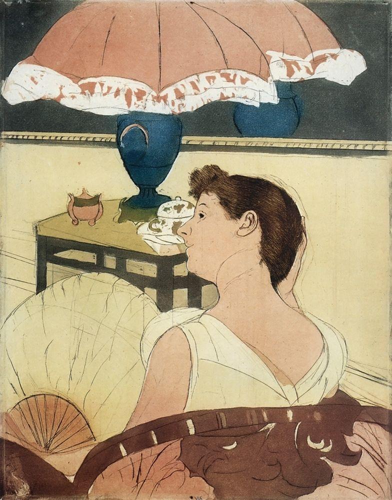 konfigurieren des Kunstdrucks in Wunschgröße The Lamp 1891 von Cassatt, Mary