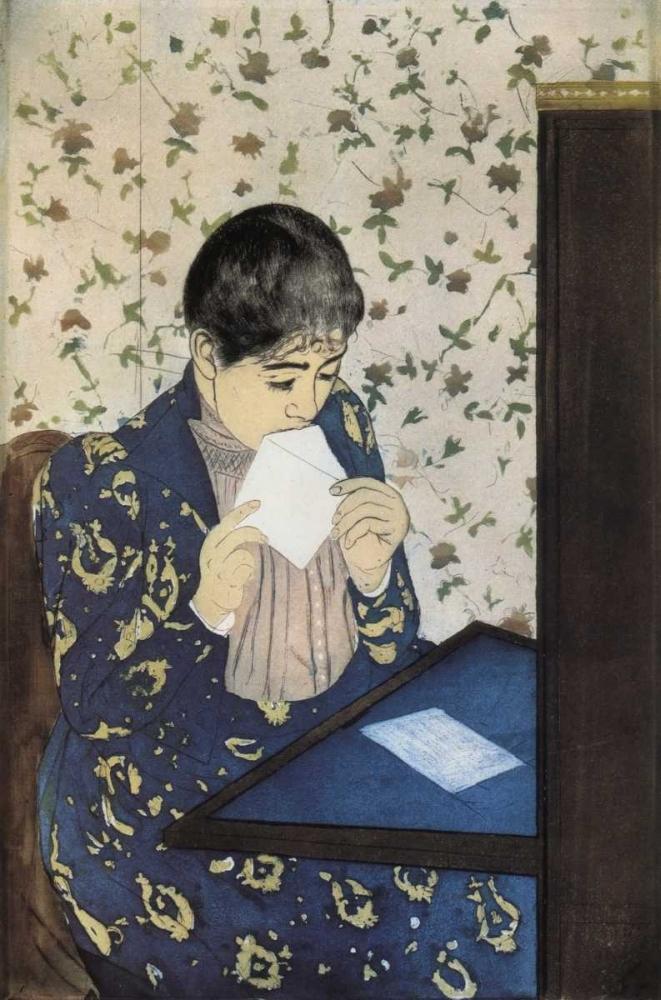 konfigurieren des Kunstdrucks in Wunschgröße The Letter 1891 von Cassatt, Mary