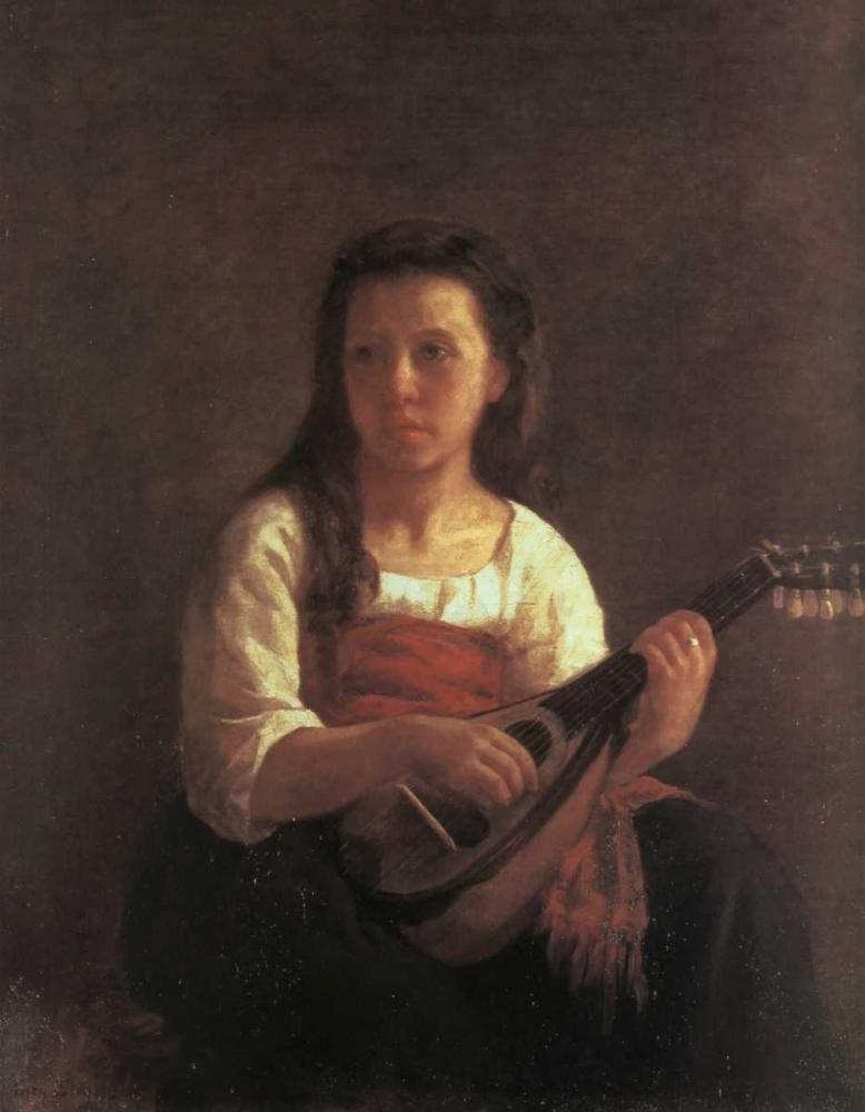 konfigurieren des Kunstdrucks in Wunschgröße The Mandolin Player 1868 von Cassatt, Mary