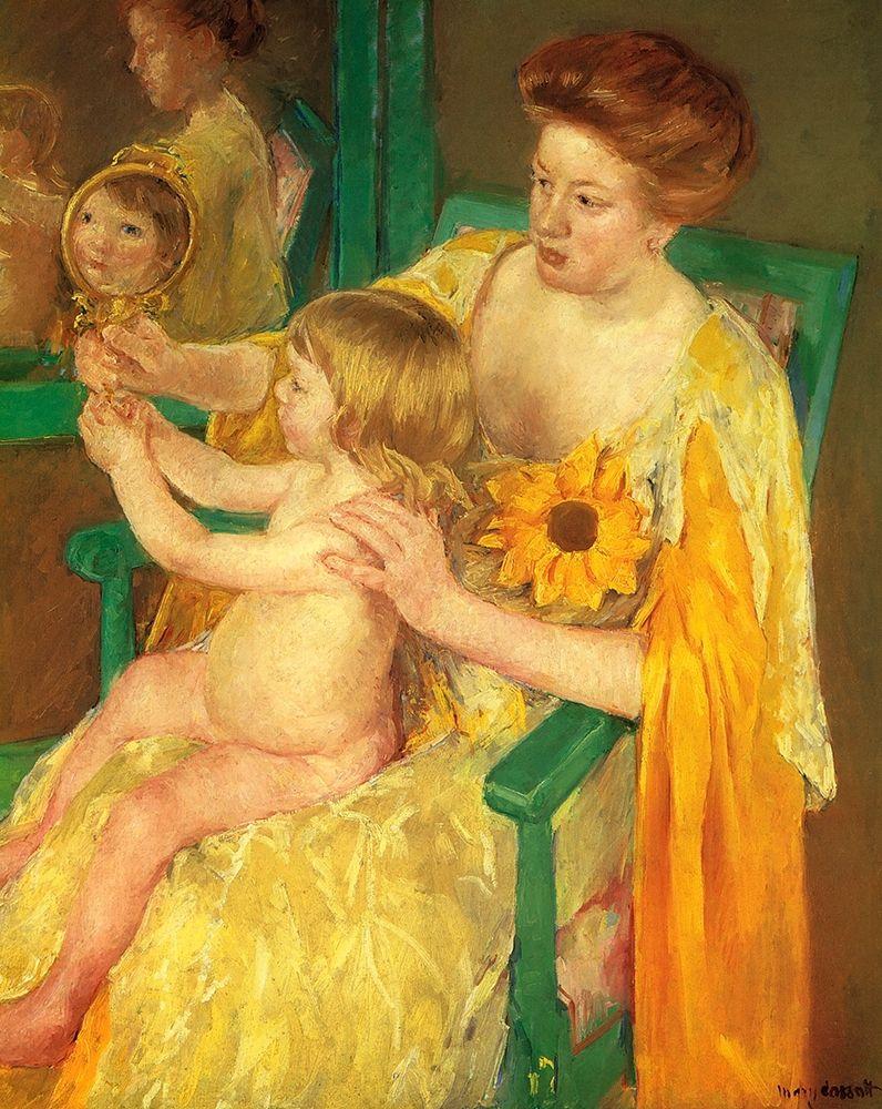 konfigurieren des Kunstdrucks in Wunschgröße The Mirror 1905 von Cassatt, Mary