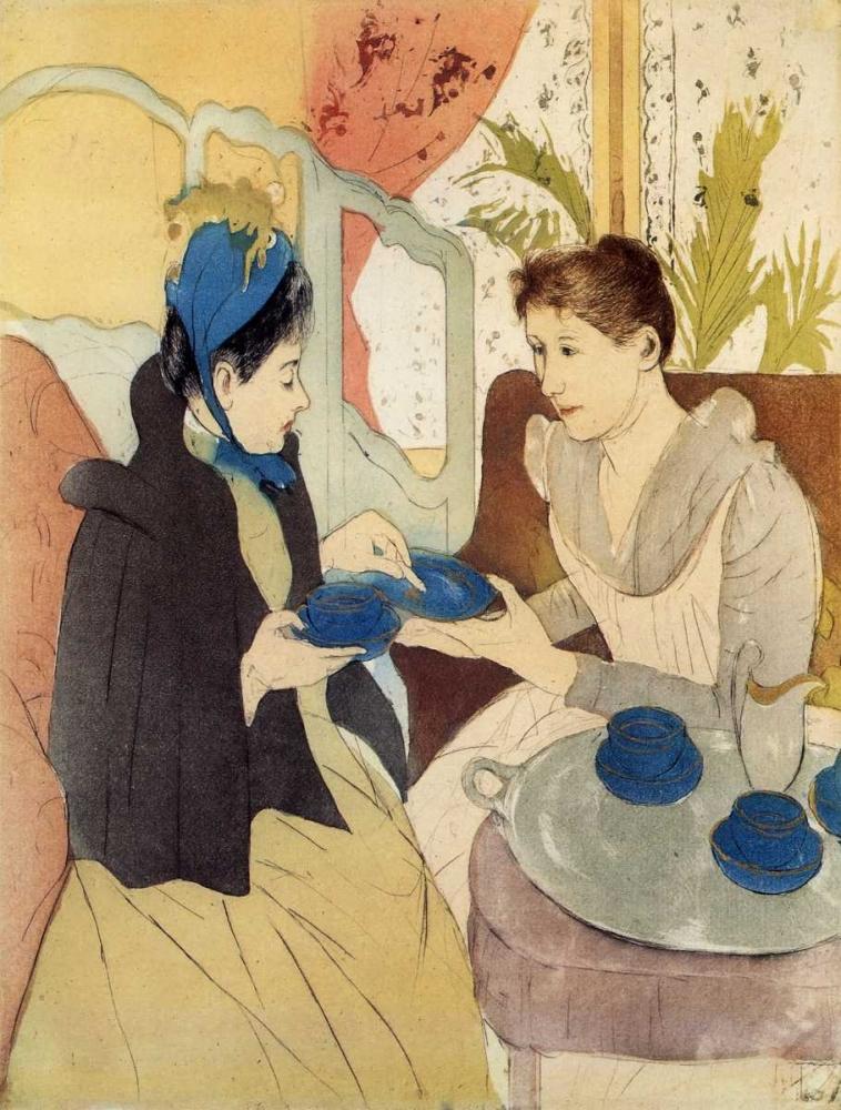 konfigurieren des Kunstdrucks in Wunschgröße The Visit 1891 von Cassatt, Mary