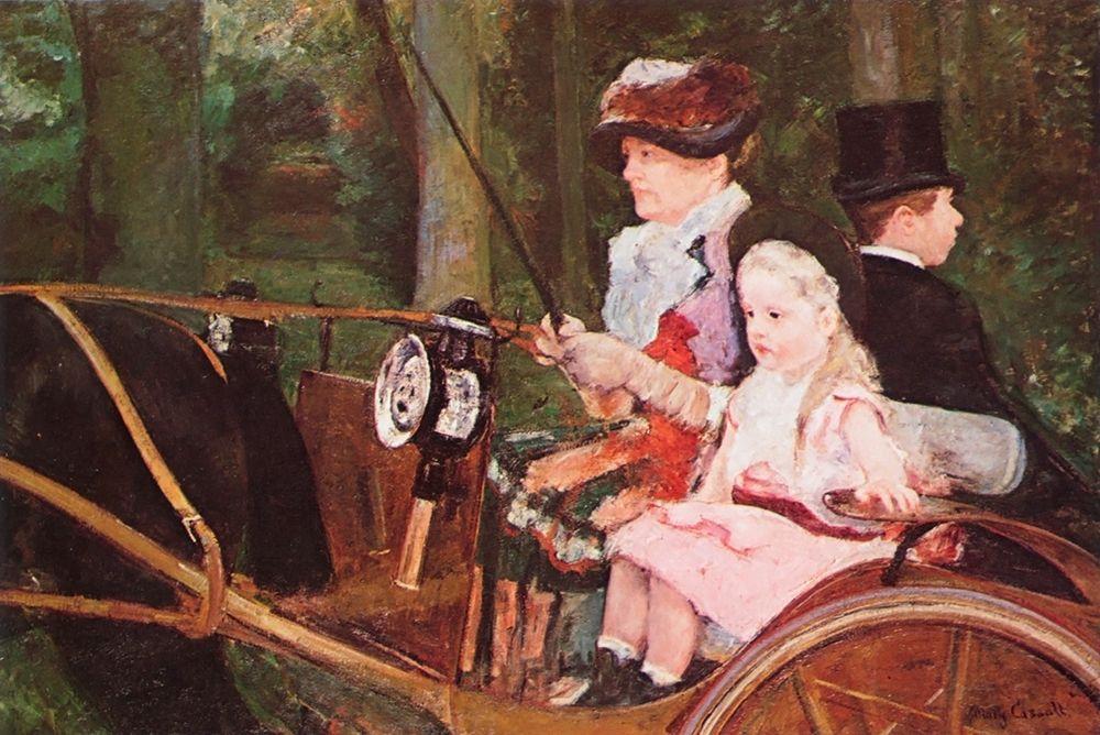 konfigurieren des Kunstdrucks in Wunschgröße Woman And Child Driving 1879 von Cassatt, Mary