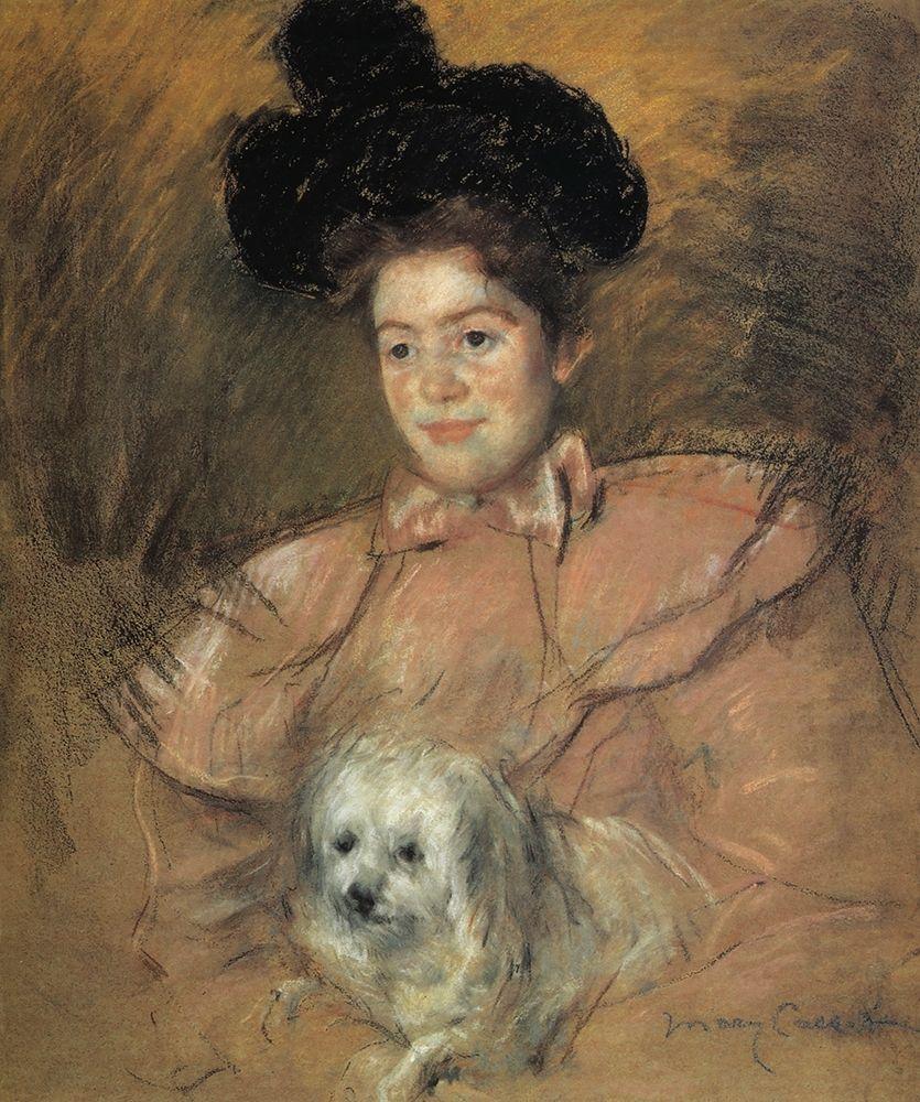 konfigurieren des Kunstdrucks in Wunschgröße Woman In Raspberry Costume Holding A Dog 1901 von Cassatt, Mary