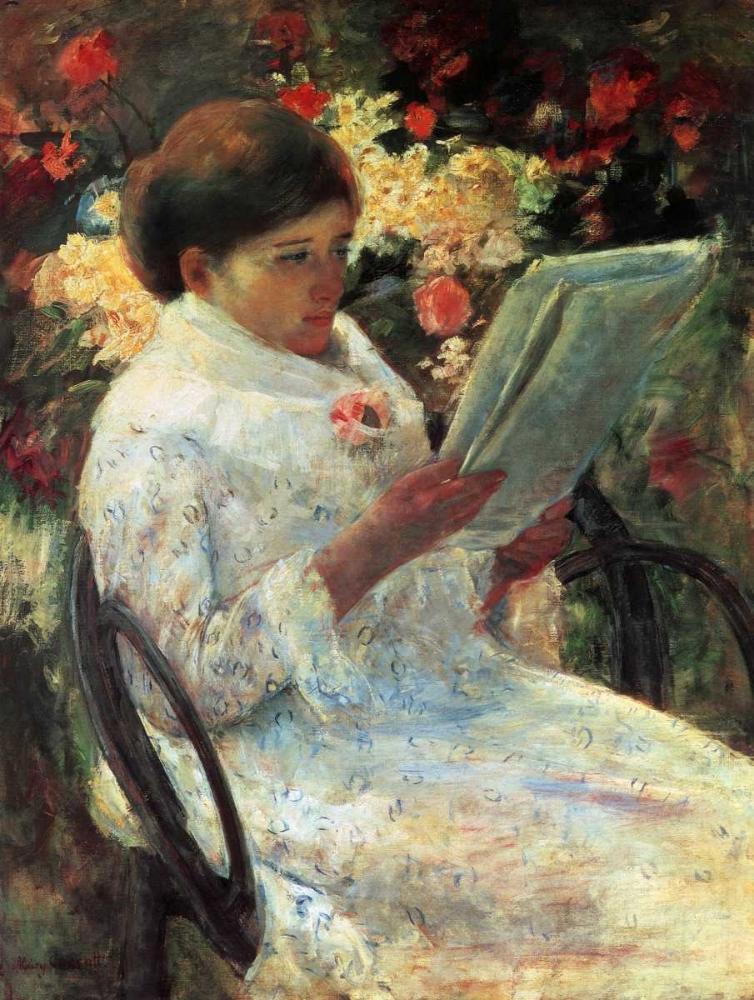 konfigurieren des Kunstdrucks in Wunschgröße Woman Reading In A Garden 1880 von Cassatt, Mary