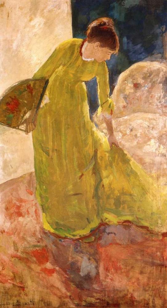 konfigurieren des Kunstdrucks in Wunschgröße Woman Standing Holding A Fan 1879 von Cassatt, Mary