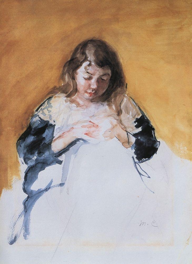 konfigurieren des Kunstdrucks in Wunschgröße Young Girl In Blue 1908 von Cassatt, Mary