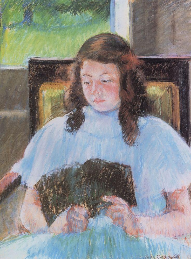 konfigurieren des Kunstdrucks in Wunschgröße Young Girl Reading 1908 von Cassatt, Mary