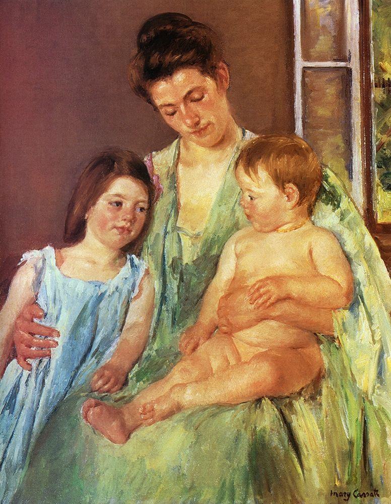 konfigurieren des Kunstdrucks in Wunschgröße Young Mother And Two Children 1905 von Cassatt, Mary