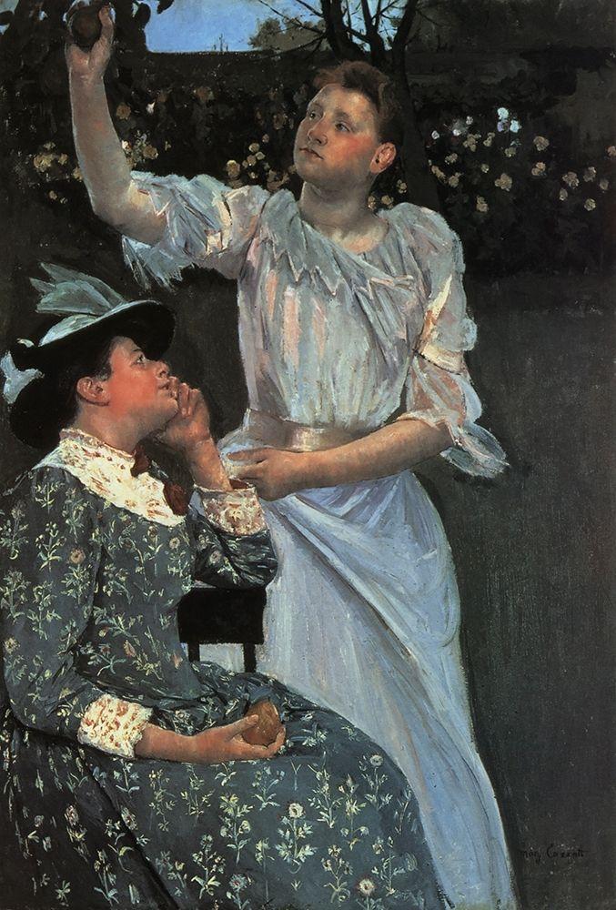 konfigurieren des Kunstdrucks in Wunschgröße Young Women Picking Fruit 1891 von Cassatt, Mary
