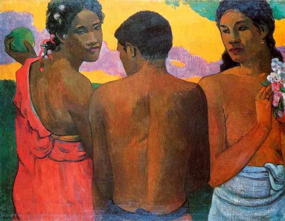konfigurieren des Kunstdrucks in Wunschgröße Three Tahitians von Gauguin, Paul