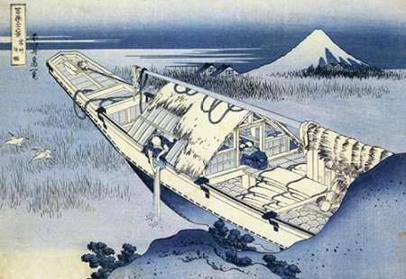 konfigurieren des Kunstdrucks in Wunschgröße A Boat Moored At Ushibori In Hitachi Province 1831 von Hokusai