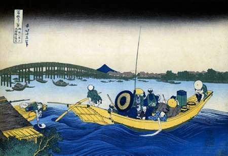 konfigurieren des Kunstdrucks in Wunschgröße A Ferry Boat At Onmayagashi 1833 von Hokusai