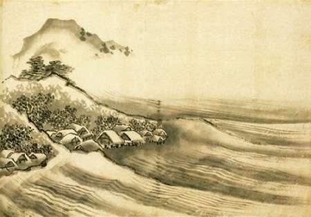 konfigurieren des Kunstdrucks in Wunschgröße A Landscape With A Seaside Village 1840 von Hokusai