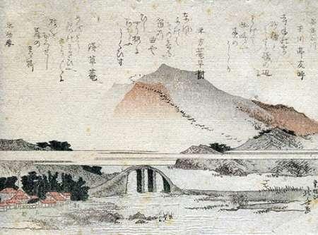 konfigurieren des Kunstdrucks in Wunschgröße A Mountainous Landscape With A Bridge von Hokusai