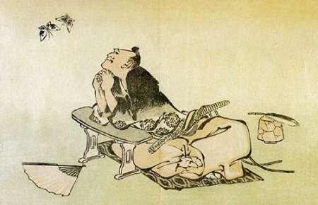 konfigurieren des Kunstdrucks in Wunschgröße A Philosopher Watching Butterflies 1814 von Hokusai