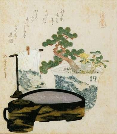 konfigurieren des Kunstdrucks in Wunschgröße A Potted Dwarf Pine With Basin And Towel 1822 von Hokusai