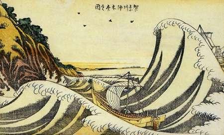 konfigurieren des Kunstdrucks in Wunschgröße A View Of Honmoku Off Kanagawa 1800 von Hokusai