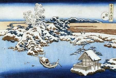 konfigurieren des Kunstdrucks in Wunschgröße A View Of Sumida River In Snow von Hokusai