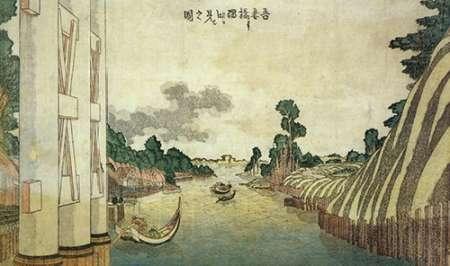 konfigurieren des Kunstdrucks in Wunschgröße A View Of Sumida River Seen From Azuma Bridge 1800 von Hokusai