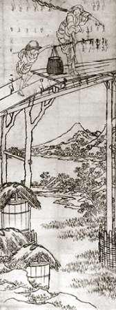 konfigurieren des Kunstdrucks in Wunschgröße A Woman And A Boy Crossing A Bridge 1830s von Hokusai