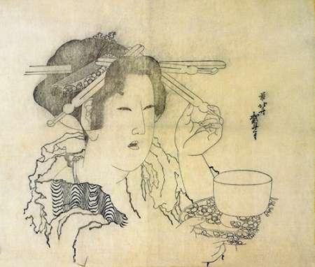 konfigurieren des Kunstdrucks in Wunschgröße A Woman With A Teacup 1816 von Hokusai