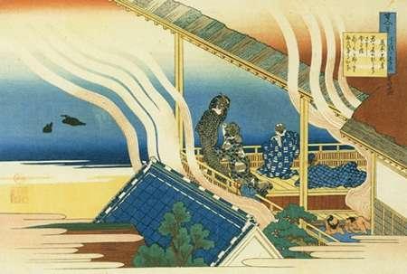 konfigurieren des Kunstdrucks in Wunschgröße Bath House By A Lake von Hokusai