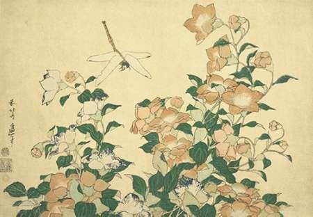 konfigurieren des Kunstdrucks in Wunschgröße Bell Flower And Dragonfly von Hokusai