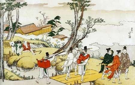konfigurieren des Kunstdrucks in Wunschgröße Courtiers Crossing A Bridge 1801 von Hokusai
