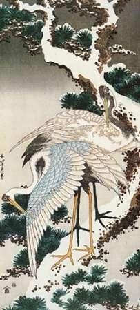 konfigurieren des Kunstdrucks in Wunschgröße Cranes On A Snowy Pine von Hokusai
