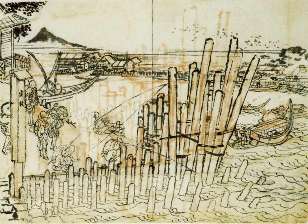konfigurieren des Kunstdrucks in Wunschgröße Fishing At Shimadagahana 1833 von Hokusai