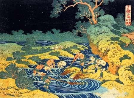 konfigurieren des Kunstdrucks in Wunschgröße Fishing By Torchlight In Kai Province von Hokusai