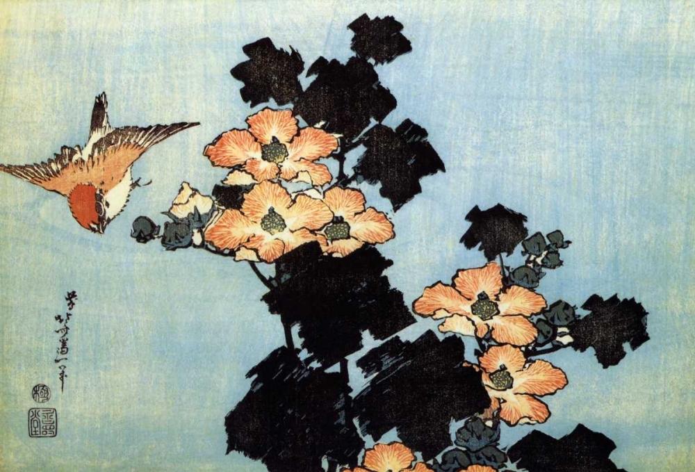 konfigurieren des Kunstdrucks in Wunschgröße Hibiscus And Sparrow von Hokusai