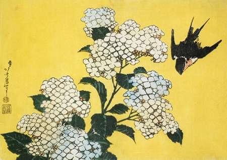 konfigurieren des Kunstdrucks in Wunschgröße Hydrangea And Swallow von Hokusai