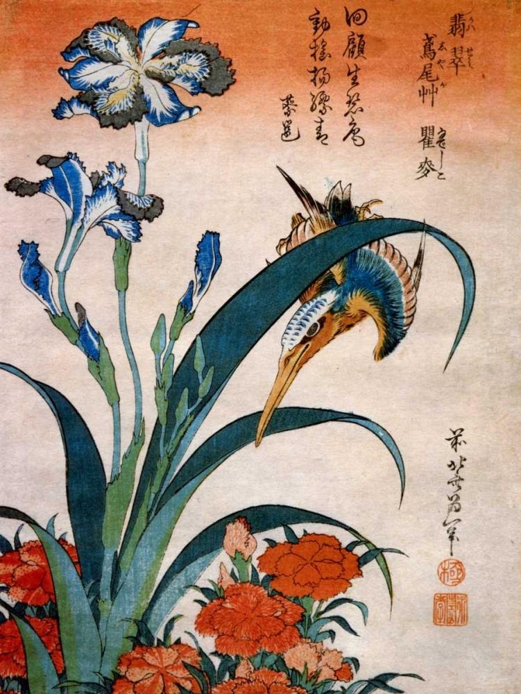 konfigurieren des Kunstdrucks in Wunschgröße Kingfisher With Irises And Wild Pinks von Hokusai