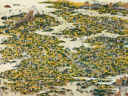 konfigurieren des Kunstdrucks in Wunschgröße Map Of The Tokaido Road 1818 von Hokusai