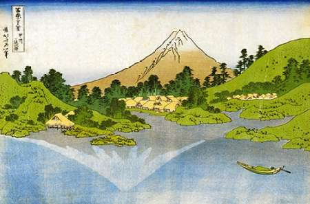 konfigurieren des Kunstdrucks in Wunschgröße Mount Fuji Reflected In A Lake At Misaka In Kai 1834 von Hokusai