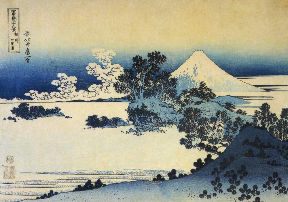konfigurieren des Kunstdrucks in Wunschgröße Mount Fuji Seen From Shichirigahama Beach 1831 von Hokusai