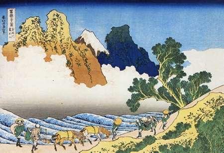 konfigurieren des Kunstdrucks in Wunschgröße Mount Fuji Seen From The Banks Of Minobu River 1835 von Hokusai
