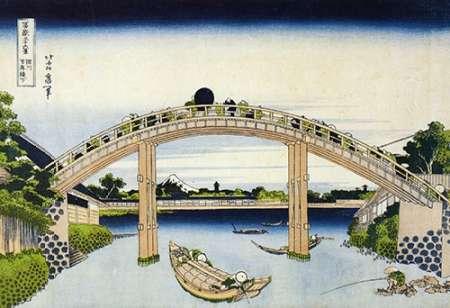 konfigurieren des Kunstdrucks in Wunschgröße Mt Fuji Through Piers Of Mannenbashi von Hokusai