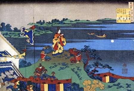 konfigurieren des Kunstdrucks in Wunschgröße Nakamaro Watching The Moon From A Hill von Hokusai