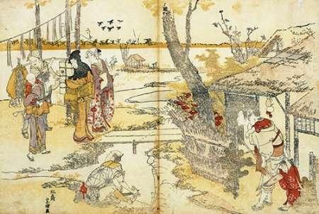 konfigurieren des Kunstdrucks in Wunschgröße Peasants By A Stream 1797 von Hokusai
