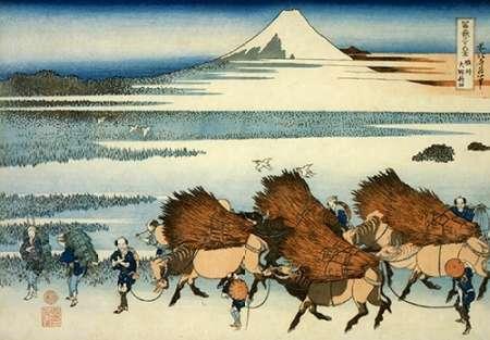 konfigurieren des Kunstdrucks in Wunschgröße Peasants Leading Oxen In The New Fields At Ono 1835 von Hokusai
