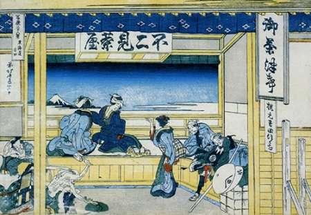 konfigurieren des Kunstdrucks in Wunschgröße People Admiring Mount Fuji From A Teahouse 1834 von Hokusai
