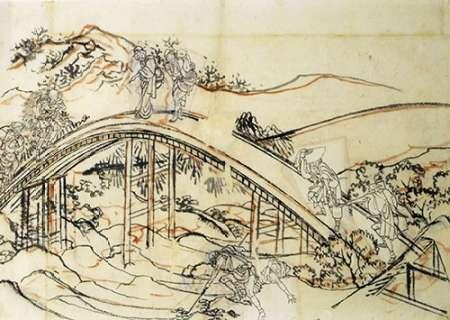 konfigurieren des Kunstdrucks in Wunschgröße People Crossing An Arched Bridge II von Hokusai