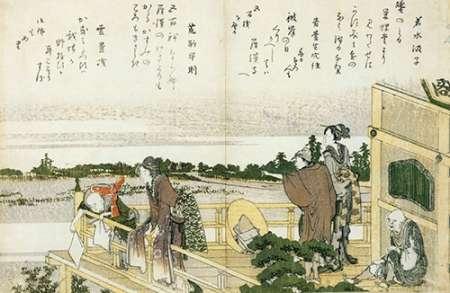 konfigurieren des Kunstdrucks in Wunschgröße People On The Balcony Of The Sazaido von Hokusai