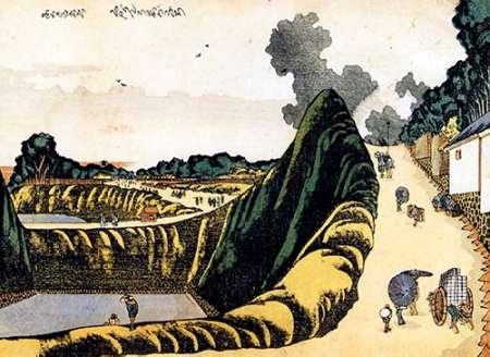 konfigurieren des Kunstdrucks in Wunschgröße People On Ushi Gafuchi Street 1805 von Hokusai