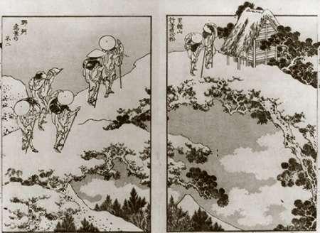 konfigurieren des Kunstdrucks in Wunschgröße Pilgrims On A Snow Covered Bridge von Hokusai