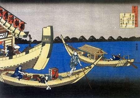 konfigurieren des Kunstdrucks in Wunschgröße Pleasure Boats On Sumida River von Hokusai