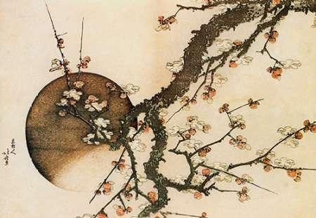 konfigurieren des Kunstdrucks in Wunschgröße Plum Blossom And The Moon 1803 von Hokusai